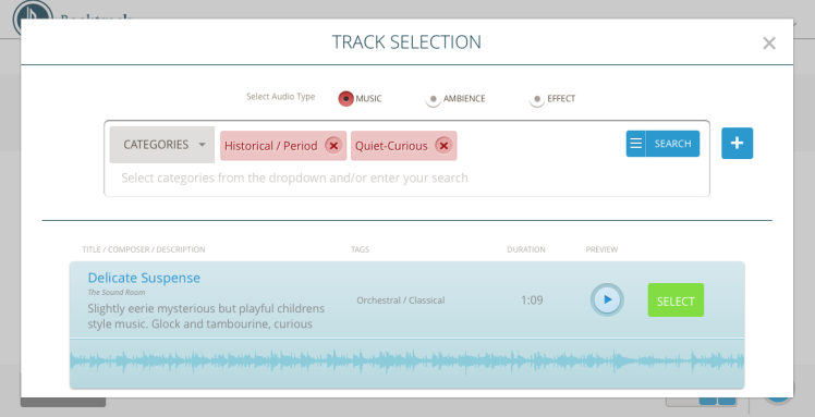 Here's what the music selection screen looks like, complete with my tags.